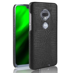 Crocodile Texture PU Leather Coated PC Phone Case for Motorola Moto G7 / G7 Plus - Black
