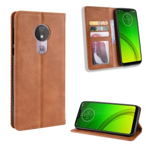 Auto-absorbed Vintage Leather Wallet Stand Cover for Motorola Moto G7 Power (US Version) - Brown