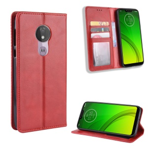 Auto-absorbed Vintage Leather Case Wallet Mobile Shell for Motorola Moto G7 Power (EU Version) - Red