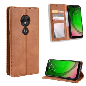 Vintage Style PU Leather Wallet Phone Case for Motorola Moto G7 Play (US Version) - Brown