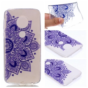 Pattern Printing TPU Case for Motorola Moto G7 Play - Purple Flowers