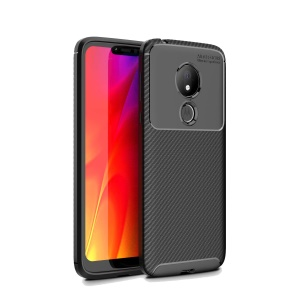 Carbon Fiber Texture TPU Case Shockproof Phone Cover for Motorola Moto G7 Power (EU Version) - Black
