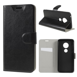Crazy Horse Stand Leather Flip Cover with Card Slot for Motorola Moto G7 Play (US Version) - Black