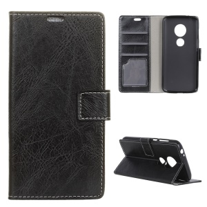 Retro Crazy Horse PU Leather Flip Shell for Motorola Moto G7 Play (US Version) - Black