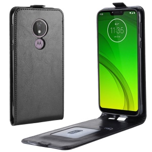 Crazy Horse Vertical Flip PU Leather Protection Shell for Motorola Moto G7 Power (US Version) - Black