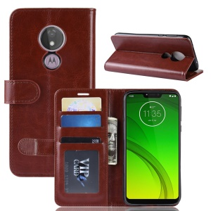 Crazy Horse PU Leather Wallet Phone Casing for Motorola Moto G7 Power (US Version) - Brown