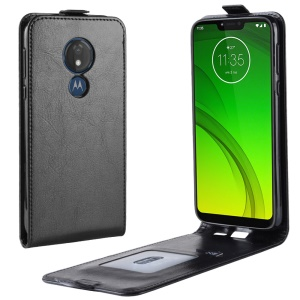 Crazy Horse Vertical Flip PU Leather Case Cover for Motorola Moto G7 Power (EU Version) - Black