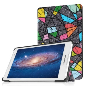 Tri-fold Stand Leather Case for Lenovo Tab 2 A8-50 - Abstract Pattern