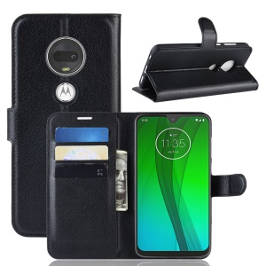 Litchi Skin Wallet Leather Stand Case for Motorola Moto G7 / G7 Plus - Black