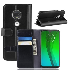 Genuine Split Leather Wallet Stand Cover for Motorola Moto G7/G7 Plus - Black