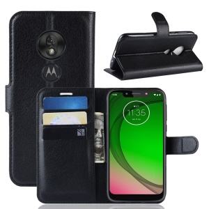 Litchi Skin PU Leather Protection Mobile Phone Cover for Motorola Moto G7 Play (EU Version) - Black
