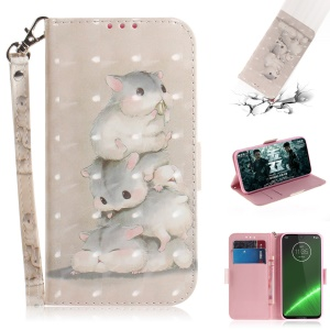 Pattern Printing Light Spot Decor Leather Wallet Case for Motorola Moto G7 / G7 Plus - Mouse Pattern