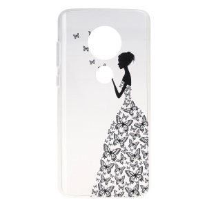 Pattern Printing Soft TPU Back Case for Motorola Moto G7/G7 Plus - Butterfly Girl