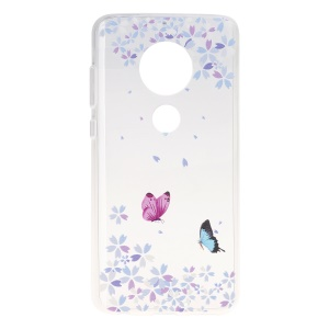 Pattern Printing Soft TPU Back Case for Motorola Moto G7/G7 Plus - Butterfly and Flower