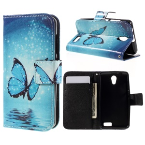 Pattern Printing Leather Folio Shell for Lenovo A319 - Shiny Blue Butterfly
