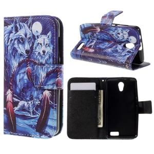Patterned Wallet Leather Flip Case for Lenovo A319 - Dream Catcher and Wolves