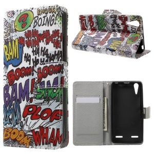 Pattern Printing Leather Folio Cover for Lenovo A6000 - Graffiti Pattern