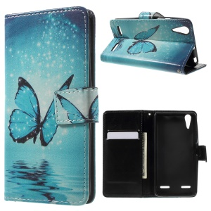 Patterned Wallet Leather Flip Shell for Lenovo A6000 - Shiny Blue Butterfly