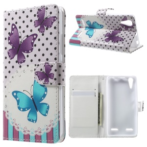 Patterned Leather Folio Case for Lenovo A6000 - Butterflies and Polka Dots