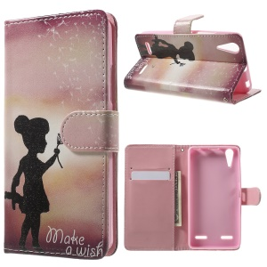 Patterned Leather Folio Shell for Lenovo A6000 - Girl and Make A Wish