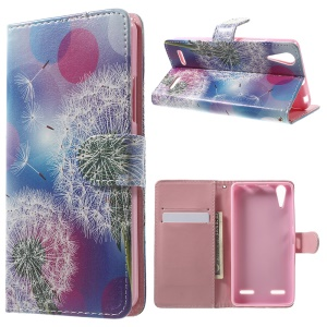 Illustration Pattern Leather Flip Case for Lenovo A6000 - Dandelion