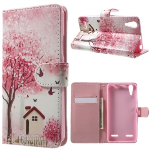 Illustration Pattern Leather Flip Cover for Lenovo A6000 - Flowering Tree and House