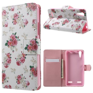 Illustration Pattern Leather Folio Shell for Lenovo A6000 - Blooming Peonies