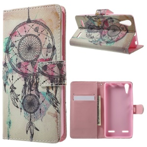 Patterned Wallet Leather Folio Case for Lenovo A6000 - Dream Catcher