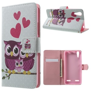Pattern Printing Leather Flip Shell for Lenovo A6000 - Sweet Owl Family