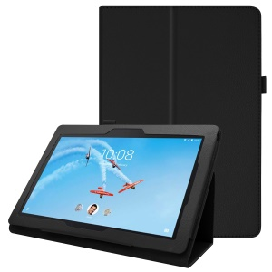 Litchi Skin Leather Stand Case for Lenovo Tab E10 - Black