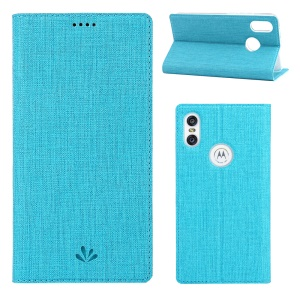 VILI DMX Cross Texture Leather Stand Case with Card Slot for Motorola One / P30 Play - Blue