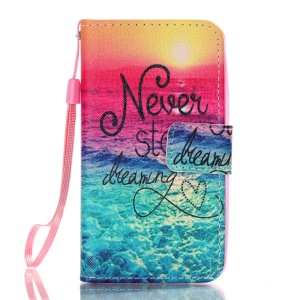 Card Holder Leather Stand Case for Lenovo A319 - Never Stop Dreaming