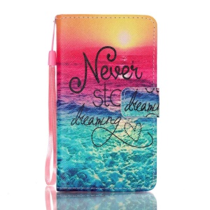 Pattern Printing Leather Wallet Case Cover for Lenovo A536 - Never Stop Dreaming