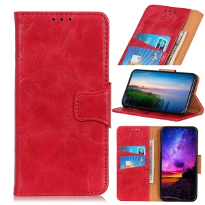 Crazy Horse Magnetic Stand Wallet Split Leather Protective Case for Motorola P40 Power - Red
