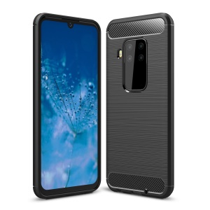 Carbon Fibre Brushed TPU Case for Motorola P40 Note - Black