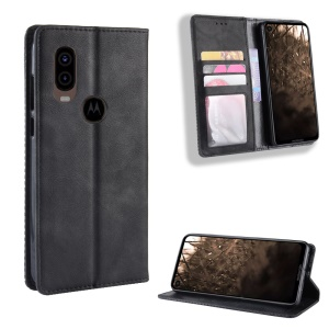 Vintage Style PU Leather Wallet Phone Cover for Motorola One Vision - Black