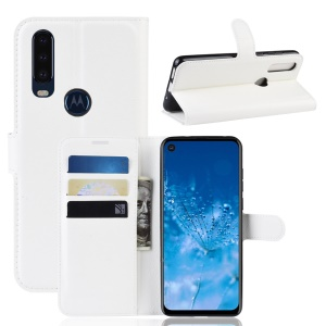 Litchi Skin Wallet Leather Stand Case for Motorola P40 Power - White