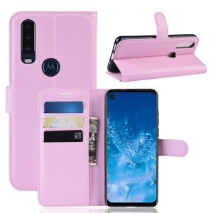 Litchi Skin Wallet Leather Stand Case for Motorola P40 Power - Pink