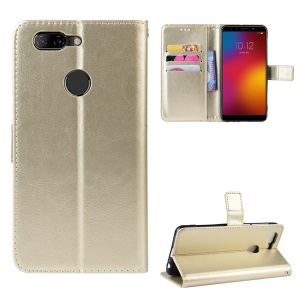Crazy Horse Leather Phone Case with Strap for Lenovo K5s - Gold