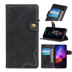S-shape PU Leather Stand Wallet Phone Shell Cover for Motorola Moto E6 - Black