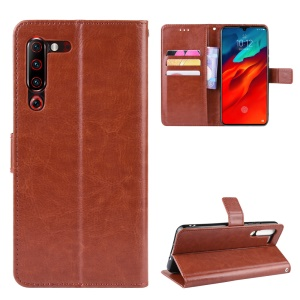 Leather Stand Wallet Phone Case for Lenovo Z6 Pro - Brown