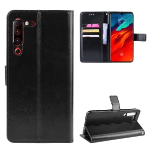 Leather Stand Wallet Phone Case for Lenovo Z6 Pro - Black