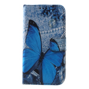 Callfree PU Leather Wallet Case for Lenovo A328 A328T - Blue Butterfly