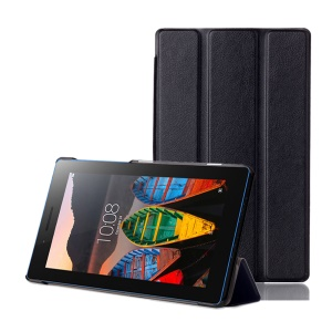 Tri-fold Stand PU Leather Smart Case for Lenovo Tab3 7 Essential 710F 710I - Black
