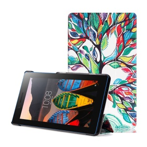 Tri-fold Stand Leather Case for Lenovo Tab3 7 Essential 710F 710I - Colored Tree Painting