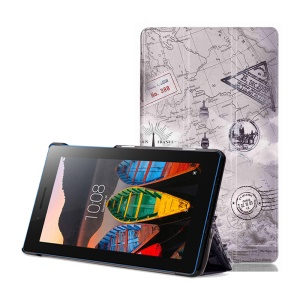 Tri-fold Leather Tablet Case for Lenovo Tab3 7 Essential 710F 710I - Eiffel Tower and Map
