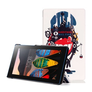 Tri-fold Stand Leather Cover for Lenovo Tab3 7 Essential 710F 710I - Red Lip Monster