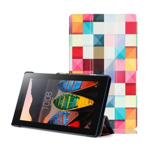Leather Tri-fold Stand Cover for Lenovo Tab3 7 Essential 710F 710I - Colorful Pyramid Pattern