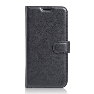 Litchi Grain Leather Wallet Flip Cover for Lenovo Vibe K5 - Black