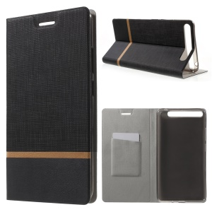 Cross Texture Leather Card Holder Stand Case for Lenovo Phab Plus - Black